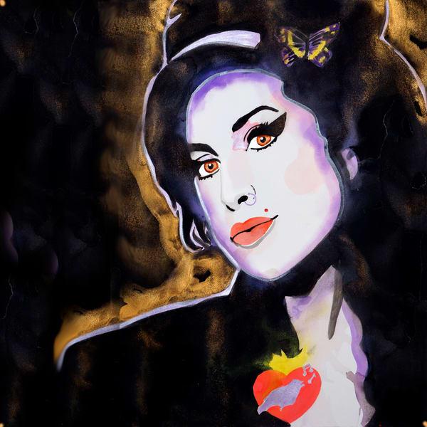 Amy Winehouse Coaster Art | William K. Stidham - heART Art