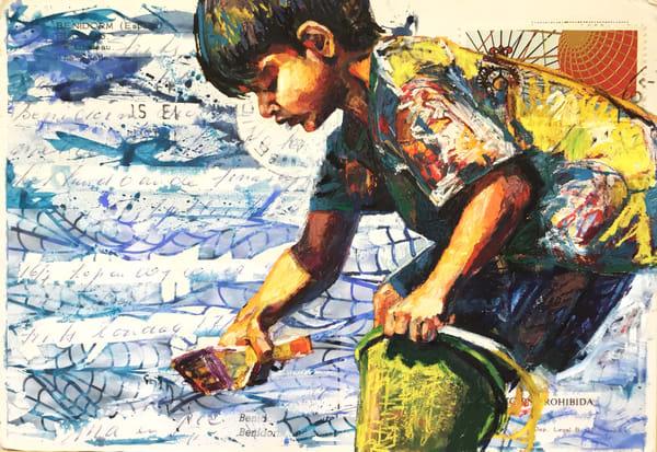 Busy Beach Boy In Yellow Art | Bianca Berends