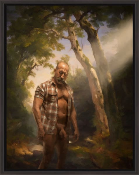 NUDE IN THE WOODS, Limited edition Encaustic, Ben Fink