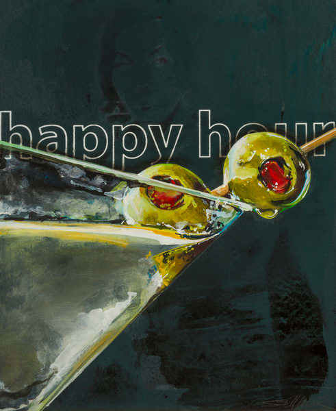 Happy Hour   Martini 2 Olives Art | Jeff Schaller