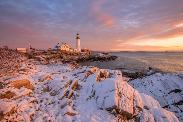 Snowy Dawn at Portland Head Light