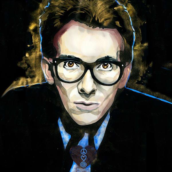 Elvis Costello Coaster Art   William K. Stidham - heART Art