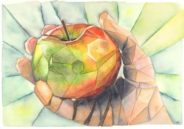 """Apple In Hand"" fine art print by Matthew Campbell."