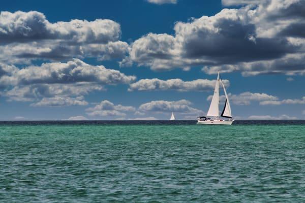 Two Sailboats Photography Art   CJ Harding