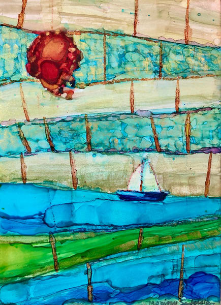 """Peculiar Seascape With Red Sun and Sailboat"" by  Monique Sarkessian is a prophetic art alcohol ink painting of a vision from a dream of a red sun seascape with sailboat."