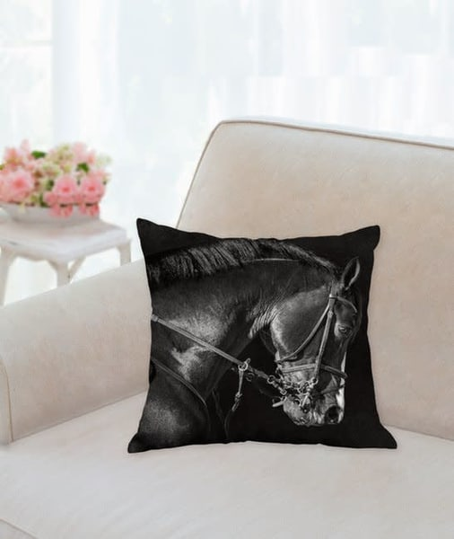 Pillow: 'bridle Portrait Of Clintord B&W' 14x14 | Carol Brooks Parker Fine Art Photography
