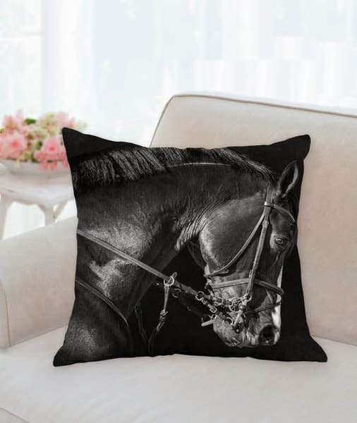 Pillow: 'bridle Portrait Of Clintord B&W' 18x18 | Carol Brooks Parker Fine Art Photography