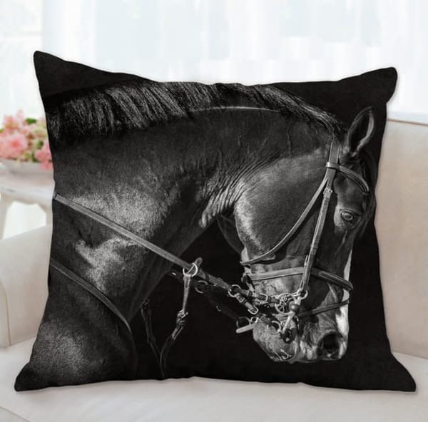 Pillow: 'bridle Portrait Of Clintord B&W' 26x26 | Carol Brooks Parker Fine Art Photography