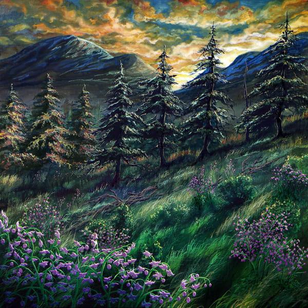 Mountain Meadow Rue, a floral watercolor by Montana Artist Joe Ziolkowski
