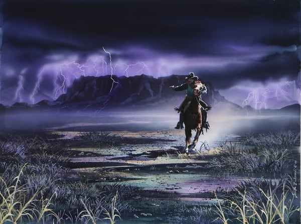 Shootin' the Wild a wild west cowboy art print by Montana artist Joe Ziolkowski. Depicting Square Butte and the stomping grounds of Charlie Russell.