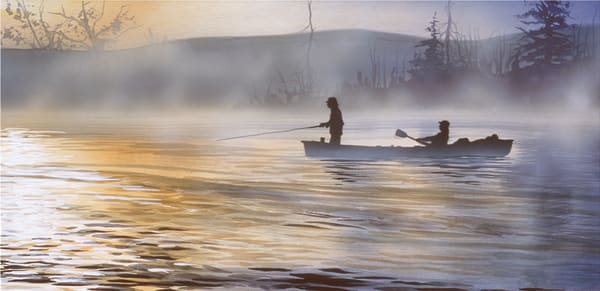 November on the Big Horn River, a fly fishing and drift boat art print.