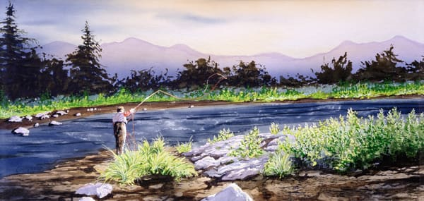 """The Gallatin"" a fine art print of one of Montana's best fly fishing rivers by artist Joe Ziolkowski."