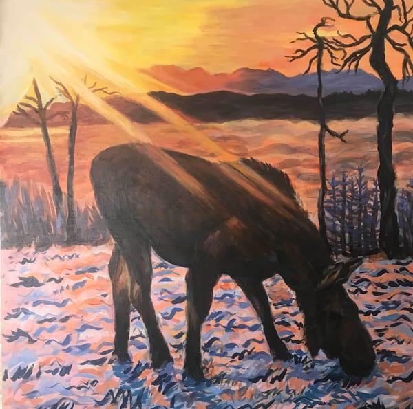 Slant Of Light   Moose Alaska Art Print Art | Amanda Faith Alaska Paintings / Estuary Arts, LLC
