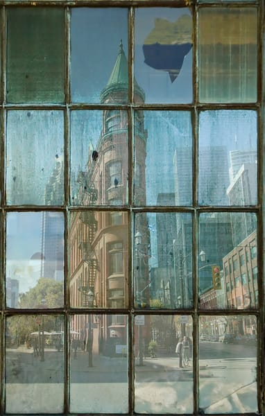 Art prints for sale of New-York-City and Toronto imagery presented through stained and tarnished industrial windows by Michael Toole.