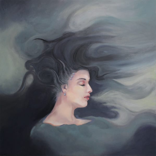 Original surreal seascape with woman in storm