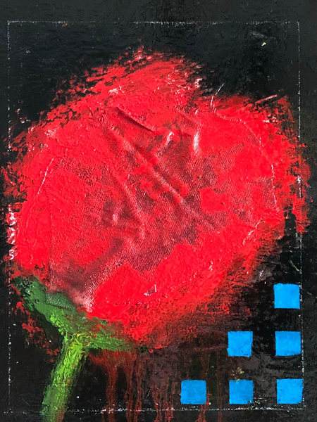 Red Rose, Blue Squares Art | Adam Shaw Gallery