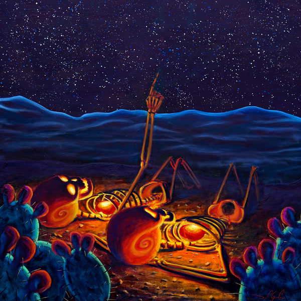 Stargazers painted by Daniel Gonzalez shows two Skeletons with big glowing hearts observing the cosmos.