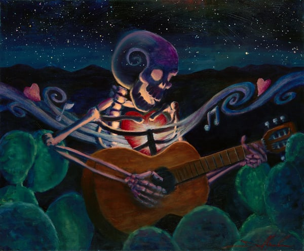 Daniel Gonzalez painted this skeleton with a big heart playing the guitar in the desert night among the stars.
