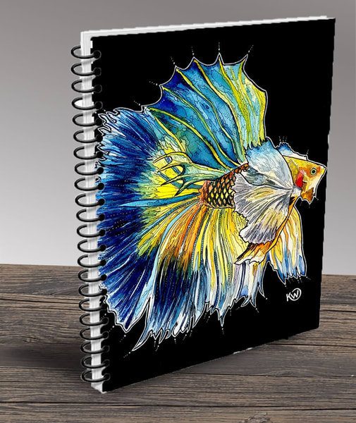 """Blue And Yellow Betta"" Notebook 