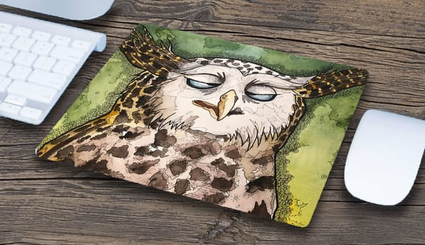 """Drunk Owl"" Mousepad 