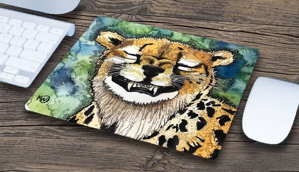 """Grinning Cheetah"" Mousepad 