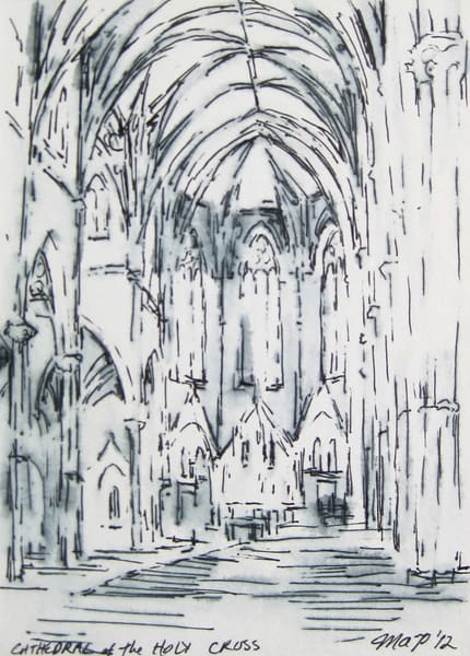 Cathedral Of The Holy Cross Boston #2  Original Drawing Matted To 8x10 Art | Michelle Arnold Paine Fine Art