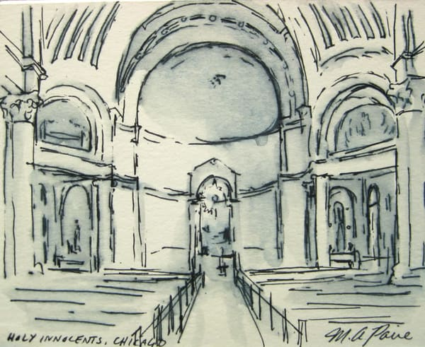 "Chicago Church Of The H Oly Innocents Pen And Ink Drawing 3.75"" X 4.5"" Art 