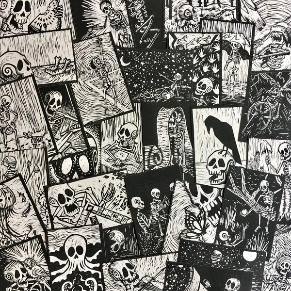 Skeleton Block Print Postcard Collage Art   Danielsartwork