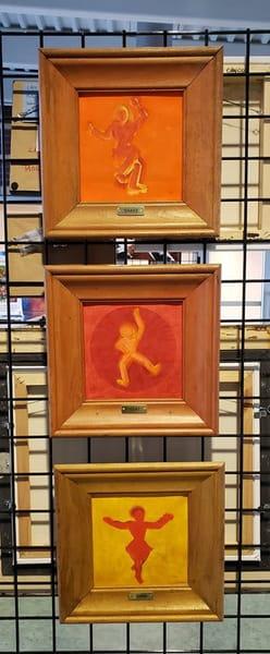 Three Panel Framed Encaustic Painting Set Shake That Thing Art | ArtHouse Kentucky
