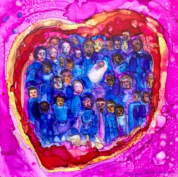 """Father's Heart"", alcohol ink  painting on panel about God's heart for His children"", by Monique Sarkessian."