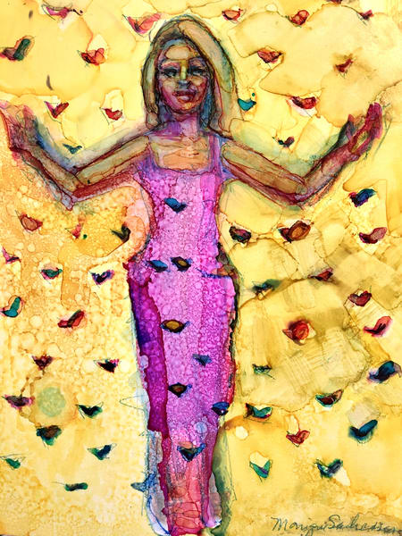 """Pentecost"" prophetic art alcohol ink painting based on a vision I had about the Holy Spirit coming at Pentecost with different color butterflies and a gold colored woman in a tulle dress by Monique Sarkessian."