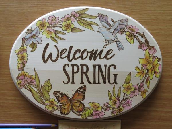 Welcome Spring (Original Woodburning)   Minisa Pyrography