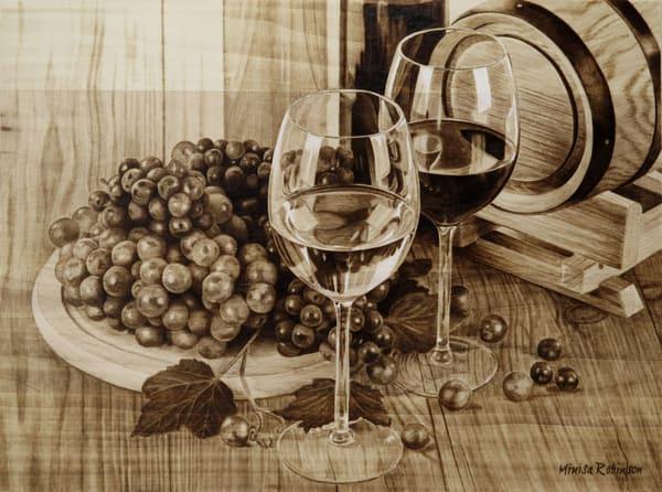 Wine Scene (Original Woodburning)   Minisa Pyrography