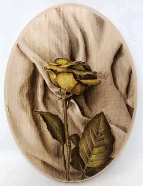 Rose On Fabric (Original Woodburning)   Minisa Pyrography
