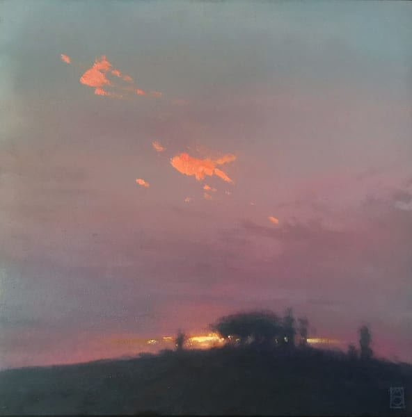 Glowing embers of the sunset's final glow. oil painting,  Fineart print