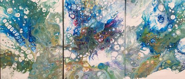 Triptich Abstract Fluid Art Art | Rowena Art Shop