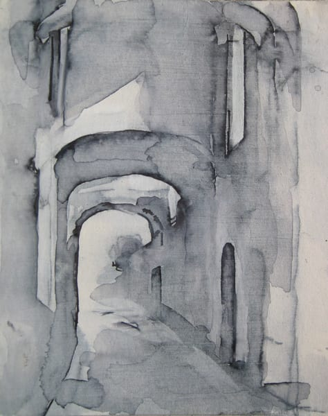 Assisi Original Mixed Media Drawing 4.5x5.5 Art | Michelle Arnold Paine Fine Art