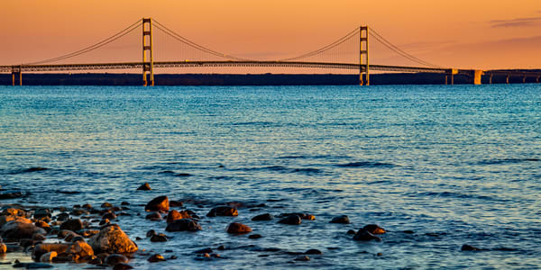 Mackinac Bridge Pano Photography Art | Whispering Impressions