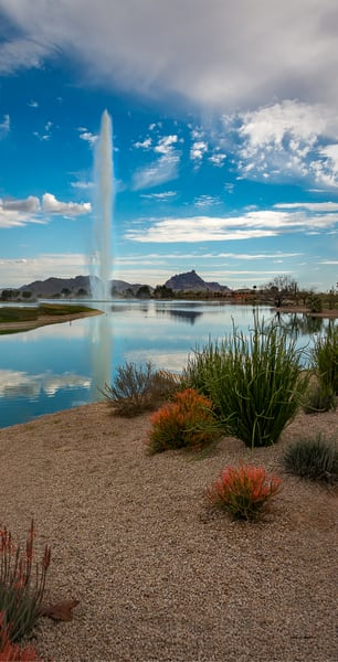 Fountain Hills Fountain Pano Photography Art | Whispering Impressions