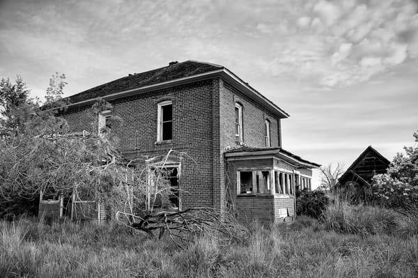 Abandoned Brick Farm House, D Road NW, Douglas County, Washington, 2013