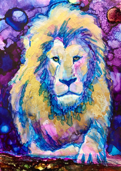 """Ready to Roar 13"" prophetic art  by Monique Sarkessian alcohol ink painting of the Lion of the tribe of Judah."
