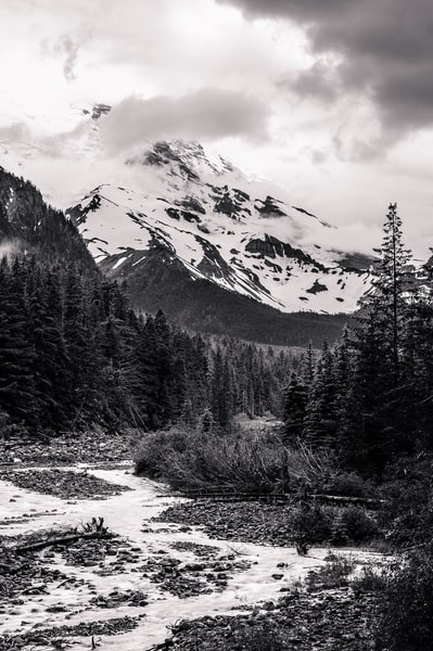 Mt Rainier and White River on a Cloudy Day, Washington, 2014