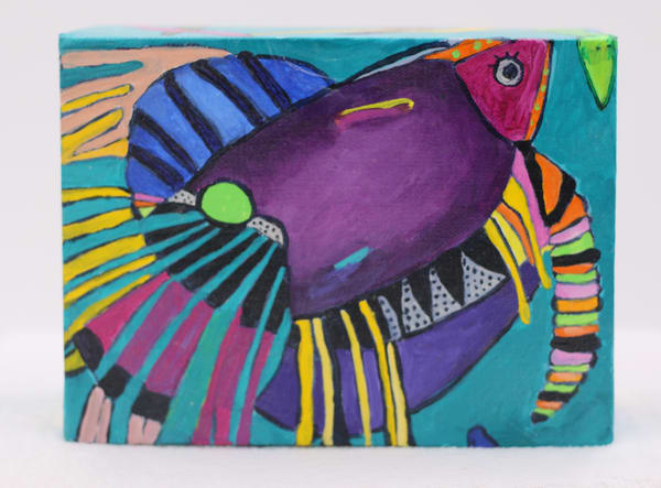 FIghting Fish #1 Painting on Canvas Panel
