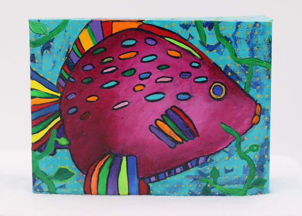 FIghting Fish #3 Painting on Canvas Panel