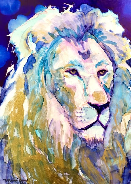 """Ready to Roar 14"" prophetic art  by Monique Sarkessian alcohol ink painting of the Lion of the tribe of Judah."