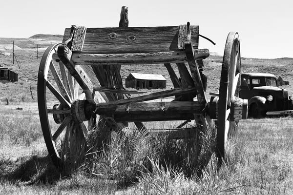 Old Cart in Bodie Photograph – B&W Art Photography - Fine Art Prints on Canvas, Paper, Metal & More