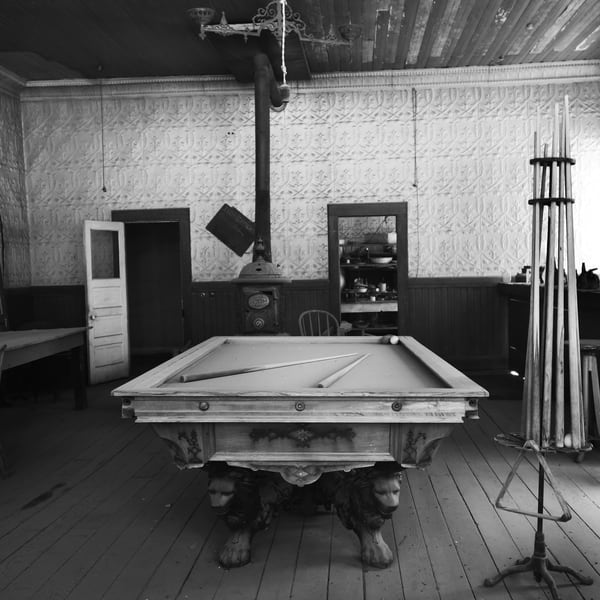 Old Pool Table in Bodie Photograph – B&W Art Photography - Fine Art Prints on Canvas, Paper, Metal & More