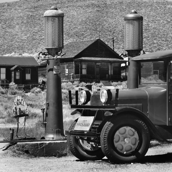 Old Gas Station in Bodie Photograph – Shell Gasoline B&W Art Photography - Fine Art Prints on Canvas, Paper, Metal & More