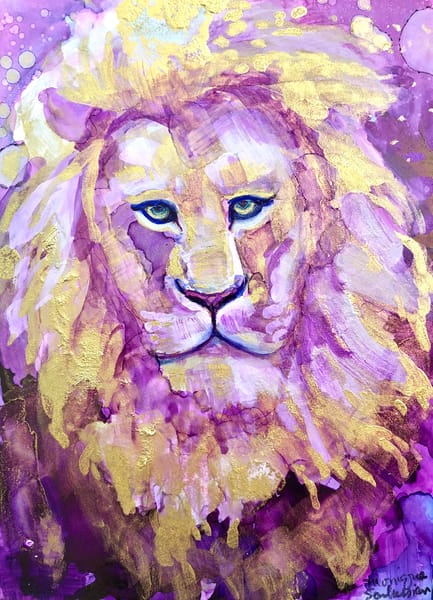 """Ready to Roar 15"" prophetic art  by Monique Sarkessian alcohol ink painting of the Lion of the tribe of Judah."