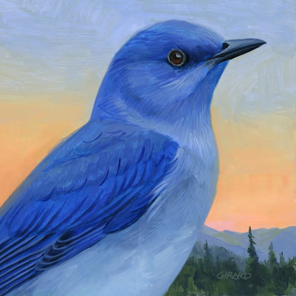 Mountain Bluebird Bird Block | Studio Girard